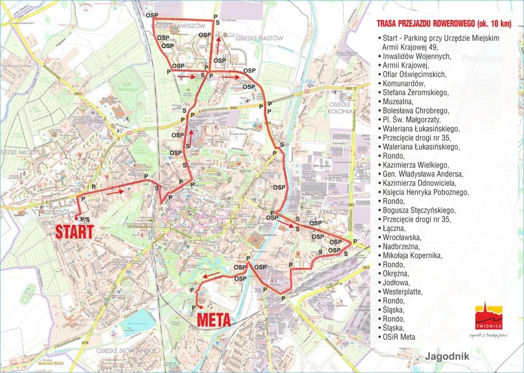 mapka przebiegu trasy rajdu rowerowegom 2017