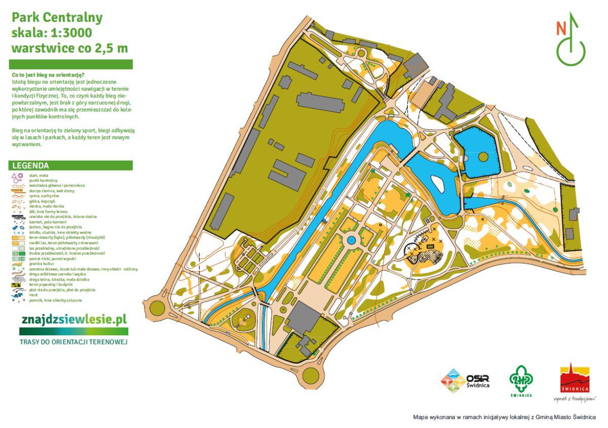 Mapa do biegów na orientację Park Centralny Świdnica