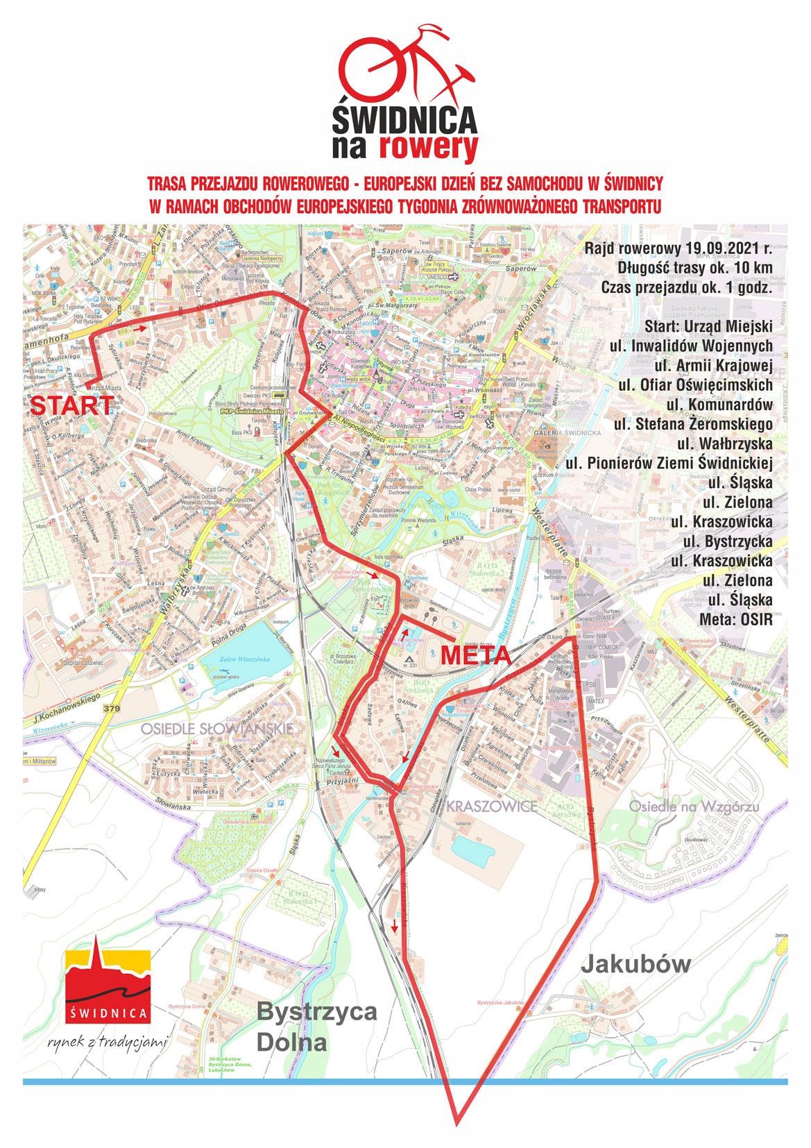 mapa rajdy rowerowego